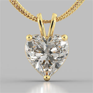 "Heart Cut Solitaire Pendant With 16"" Diamond Cut Cable Chain"