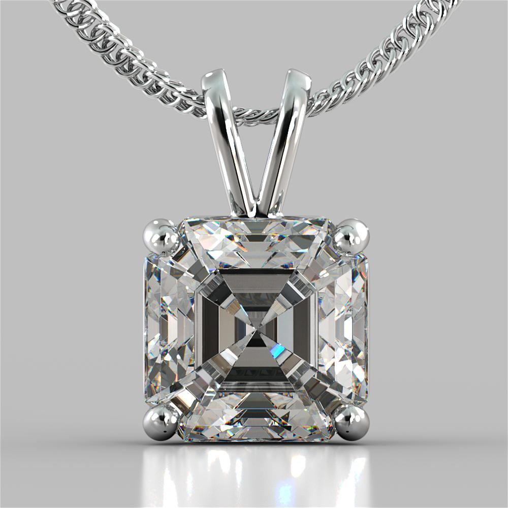 Asscher Cut Solitaire Pendant With 16