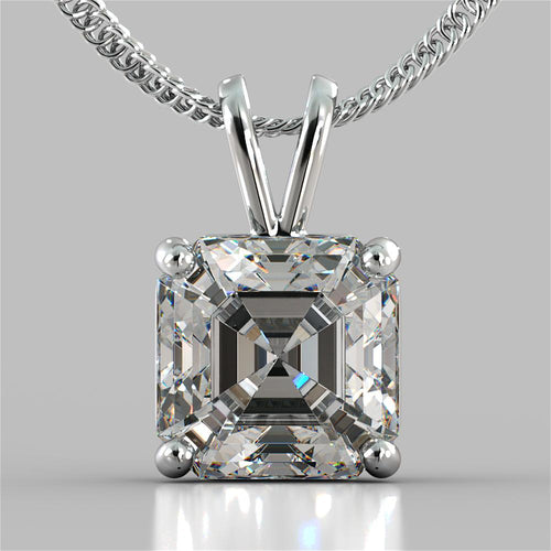4.0CT Asscher Cut Solitaire Pendant With 18