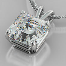 "Load image into Gallery viewer, Asscher Cut Solitaire Pendant With 16"" Diamond Cut Cable Chain"