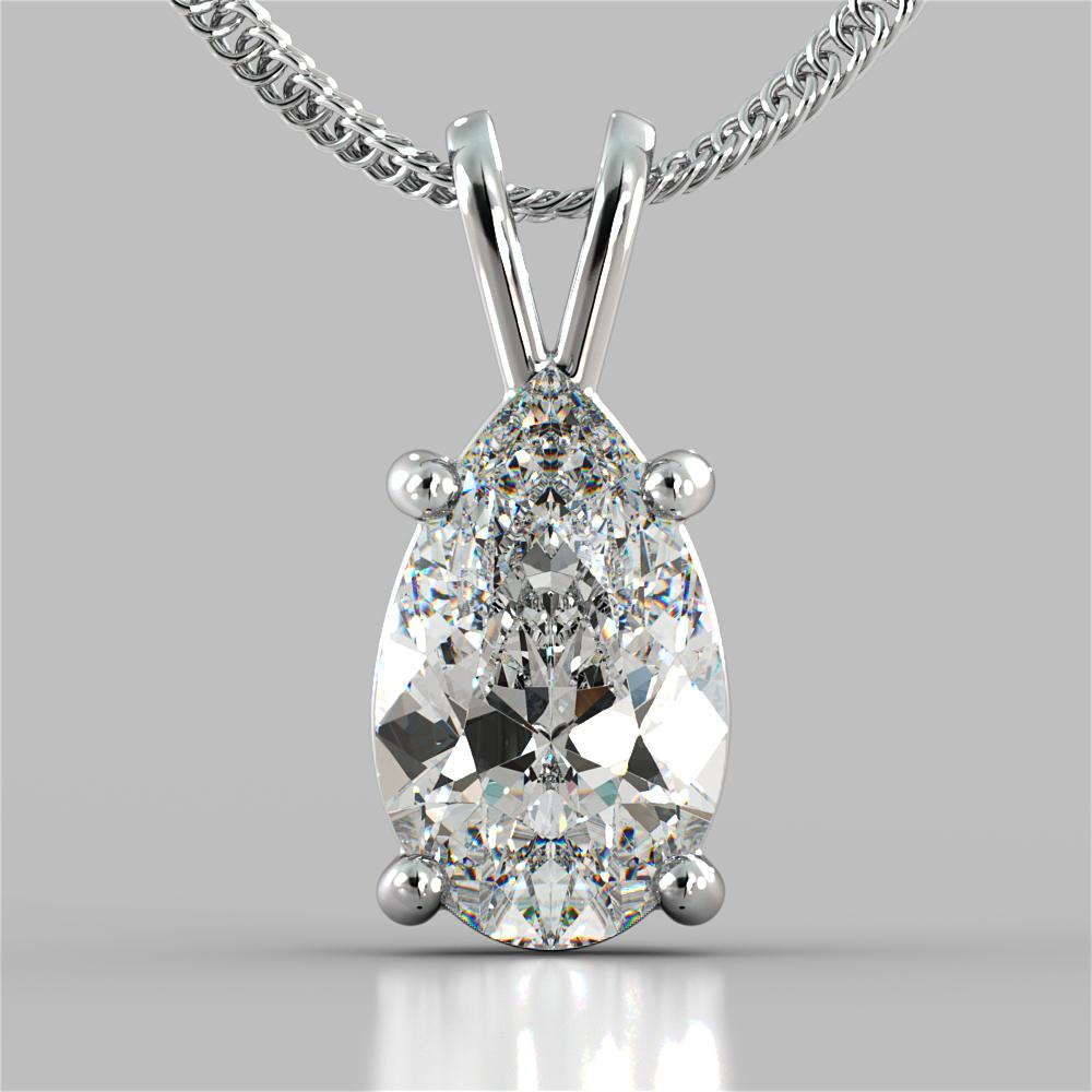 Pear Cut Solitaire Pendant With 16