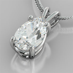 "Pear Cut Solitaire Pendant With 16"" Diamond Cut Cable Chain"