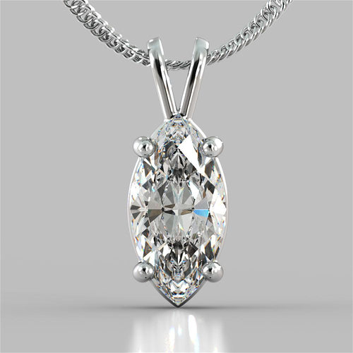 Marquise Cut Solitaire Pendant With 16