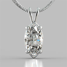 "Load image into Gallery viewer, 3.0CT Marquise Cut Solitaire Pendant in 14K White Gold With 16"" Diamond Cut Cable Chain"