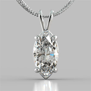 "3.0CT Marquise Cut Solitaire Pendant in 14K White Gold With 16"" Diamond Cut Cable Chain"