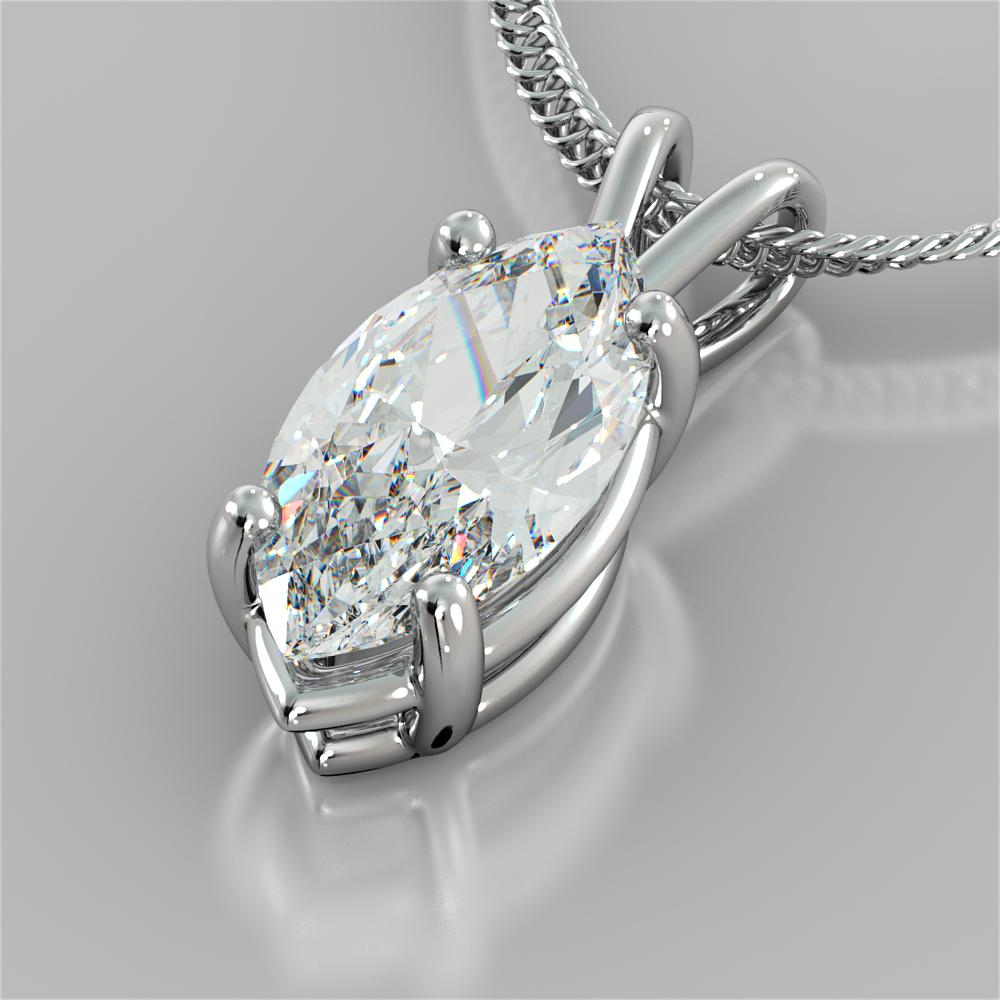 3.0CT Marquise Cut Solitaire Pendant in 14K White Gold With 16