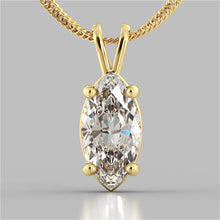 "Load image into Gallery viewer, 3.0CT Marquise Cut Solitaire Pendant in 14K Yellow Gold With 16"" Diamond Cut Cable Chain"