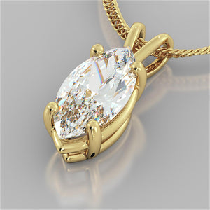 "3.0CT Marquise Cut Solitaire Pendant in 14K Yellow Gold With 16"" Diamond Cut Cable Chain"