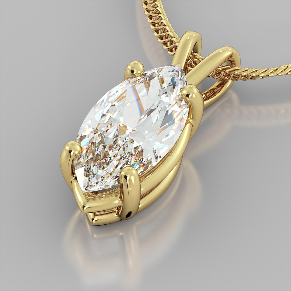 3.0CT Marquise Cut Solitaire Pendant in 14K Yellow Gold With 16