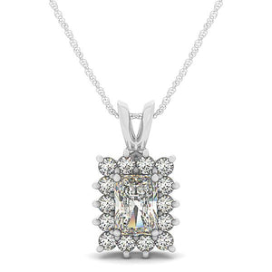 5.0Ct Radiant Cut Halo Pendant 14K White Gold