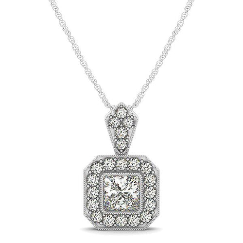 Princess Cut Bezel Syle Halo Pendant