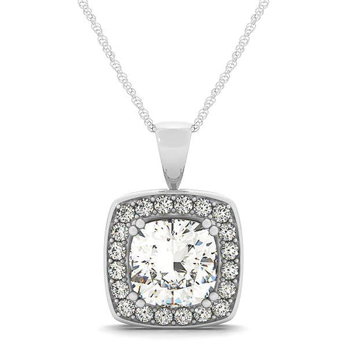 Cushion Cut Bezel Halo Pendant
