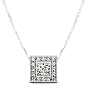 Princess Cut Halo Slider Pendant