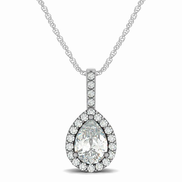 Pear Cut Tear Drop Style Halo Pendant