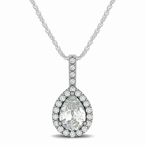 2.0Ct  Pear Cut Tear Drop Style Halo Pendant in 14K White Gold