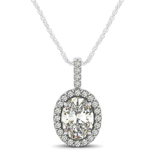 Oval Cut Pave Style Halo Pendant