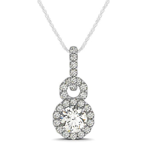 Round Cut Double Circle Pave Syle Halo Pendant