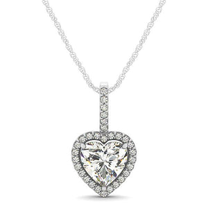 Heart Cut Pave Style Halo Pendant