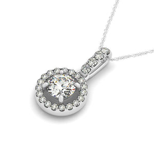 Round Cut Scalloped Style Halo Pendant