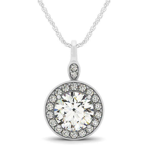 1.0CT Round Cut Halo Basket Pendant