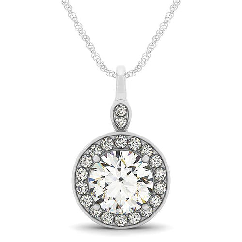 1.5CT Round Cut Halo Basket Pendant set in 14 White Gold