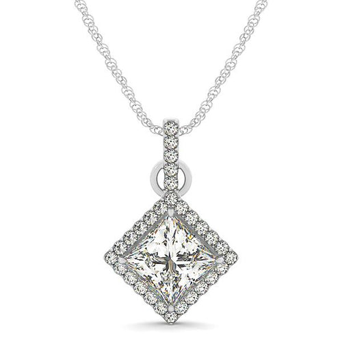 Princess Cut Halo Pendant