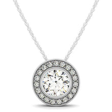 Load image into Gallery viewer, Round Cut Vintage Bezel Style Slider Halo Pendant