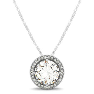 Scroll Basket Syle Round Cut Halo Slider Pendant