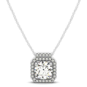 Round Cut with Square Halo Basket Style Slider Pendant