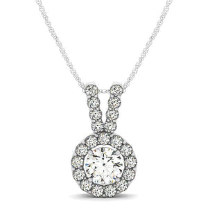 Round Cut Pave Halo with Double Bail Pendant