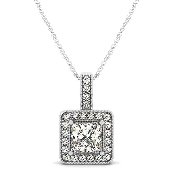 Princess Cut Antique Rope Milgrain Halo Pendant