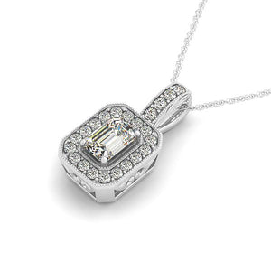 Emerald Cut Antique Rope Milgrain Halo Pendant