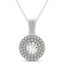 Load image into Gallery viewer, Double Halo Scalloped Style Round Cut Pendant