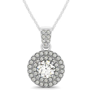 Double Halo Scalloped Style Round Cut Pendant