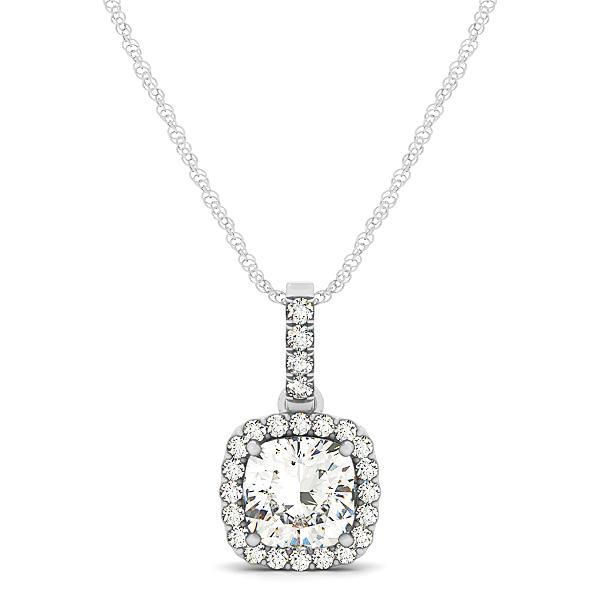 Fancy Halo Cushion Cut Open Basket Pendant
