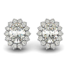 Load image into Gallery viewer, Flower Scalloped Edge Oval Post Earrings