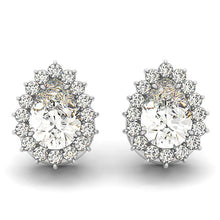 Load image into Gallery viewer, Flower Scalloped Edge Pear Post Earrings