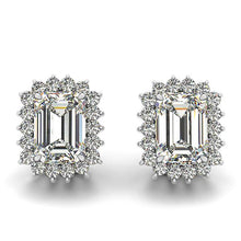 Load image into Gallery viewer, Flower Scalloped Emerald Cut Halo Earrings