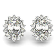 Load image into Gallery viewer, Flower Scalloped Oval Cut Halo Earrings