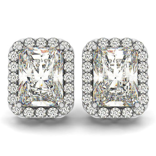 Radiant Cut Pave Style Halo Earrings
