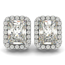 Load image into Gallery viewer, 6.42 CTW  Radiant Cut Pave Style Halo Earrings in 14K White Gold
