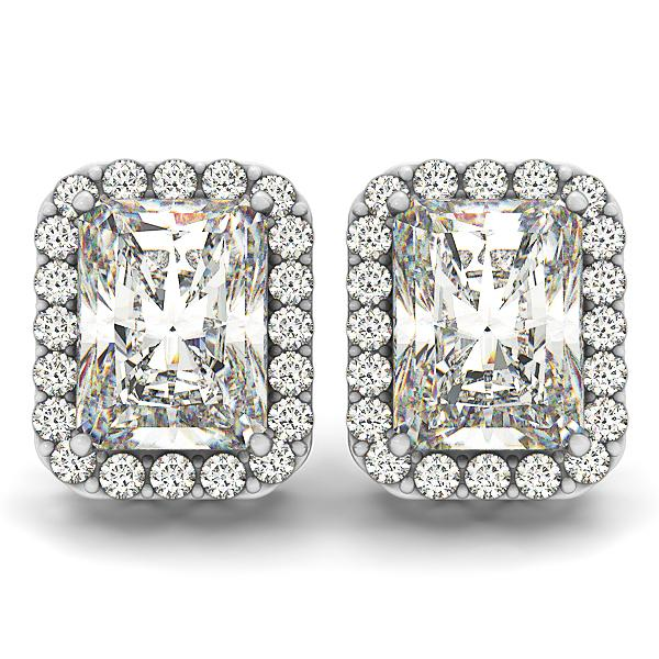 6.42 CTW  Radiant Cut Pave Style Halo Earrings in 14K White Gold