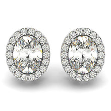 Load image into Gallery viewer, Oval Cut Halo Earrings