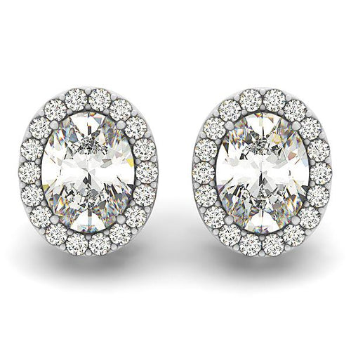 Oval Cut Halo Earrings