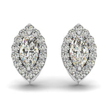 Load image into Gallery viewer, 1.26 CTW Marquise Cut Halo Earrings in 14K White Gold