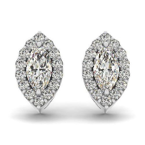 1.26 CTW Marquise Cut Halo Earrings in 14K White Gold