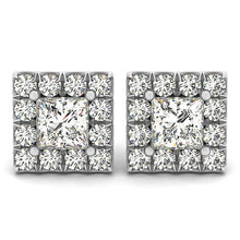 Load image into Gallery viewer, Princess Cut Halo Earrings
