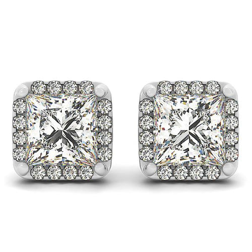 Princess Cut Scalloped Halo Earrings