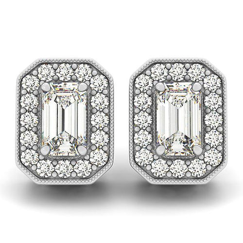 Emerald Cut Octagonal Halo Earrings