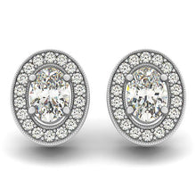 Load image into Gallery viewer, Oval Cut Halo Earrings With Artisan Detail Basket